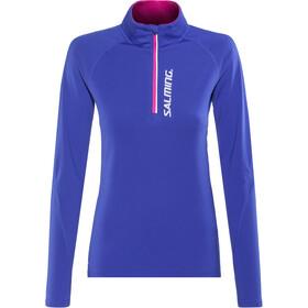 Salming Halfzip LS Tee - Camiseta manga larga running Mujer - azul